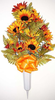Fall Cemetery Vase with Sunflowers and Daisies Cemetery Vases, Grave Flowers, Sunflowers And Daisies, Memorial Flowers, Floral Foam, Fall Season, Flower Vases, Artificial Flowers, Greenery