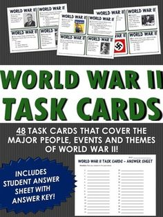 This World War II resource includes 48 task cards related to the major people, events and themes of World War II. It is an excellent resource when reviewing or learning about World War II and includes questions related to both American History and World History.