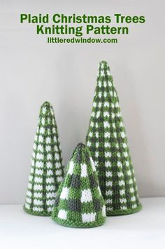 This cute plaid Christmas trees knitting pattern is cute, cozy and festive, they're the perfect holiday knit for your home this year! Cute Christmas Tree, Plaid Christmas, Diy Christmas Ornaments, Holiday Crochet, Crochet Gifts, Crochet Ideas, Free Crochet, Christmas Tree Knitting Pattern, Fair Isle Knitting Patterns