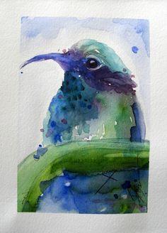 Hummingbird Original Watercolor Painting Bird by RedbirdCottageArt