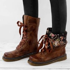 504ea811df5bb Rubber Nubuck Leather Lace-Up Front Mid-Calf Boots. Womens Vintage Chunky  Heel ...