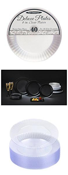 Plastic Lunch Plates. Party Essentials Deluxe Quality Hard Plastic 40 Count Round Party/Luncheon  sc 1 st  Pinterest & Plastic Wedding Plates Bulk.