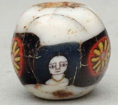 Roman mosaic bead (B.C. 2-A.D.2) 3 faces with necklace and 3 floweres. Pandamo collection~