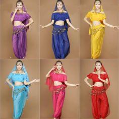 Barato trajes de danza del vientre 4 unidades incluyendo superior de danza del vientre, pantalones harén, bufanda de la cadera, velo(China (Mainland))