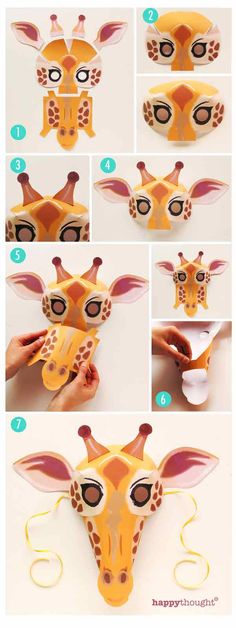 How to make a Giraffe mask as a costume or to learn more about Giraffes in class. https://happythought.co.uk/product/printable-wild-animal-masks