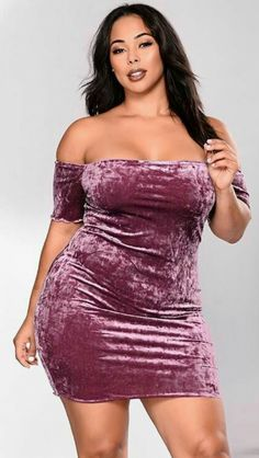 Available In Purple Velvet Dress Off The Shoulder Short Sleeve Lettuce Edge Polyester Spandex Made in USA Plus Size Dresses, Nice Dresses, Girls Dresses, Flower Girl Dresses, Curvy Fashion, Plus Size Fashion, Girl Fashion, Looks Plus Size, Plus Size Model