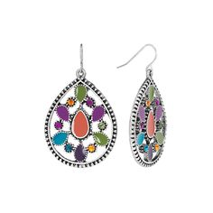 Mudd® Silver Tone Simulated Crystal Textured Teardrop Earrings, Women's, multicolor