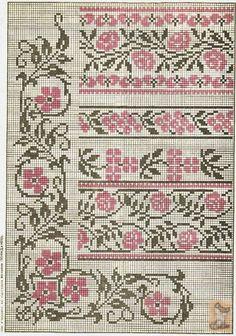 Barrado floral fácil em ponto cruz duas cores
