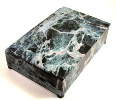 Decorative box in black,blue-gray and white granite pattern paper for display or storage of  treasures or necessities