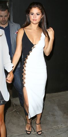 Look of the Day - August 31, 2015 - Selena Gomez stuns in a sexy black and white number from InStyle.com