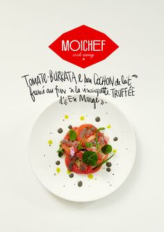 TOMATE BURRATA & Son cochon de lait fumé au foin à la vinaigrette truffée du chef Frank Renimel , 1 étoile au guide Michelin