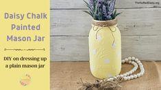 Painted Mason Jar DIY - Chalk Paint Mason Jars, Painted Mason Jars, Mason Jar Diy, Diy Chalk Paint Recipe, Plastic Spoons, White Chalk Paint, Yellow Painting, Jute Twine, Paper Plates