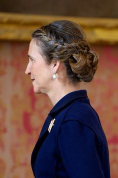 Spanish Infanta Elena's hair details during the Spain's National Day Royal Reception at the Zarzuela Palace on 12.10.13 in Madrid, Spain.