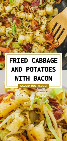 Fried Cabbage And Potatoes, Fried Cabbage Recipes, Cabbage Meals, Recipes With Bacon, Chicken Recipes, Side Dish Recipes, Vegetable Recipes, Dinner Recipes, Dinner Menu