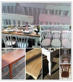 vecchie sedie e vecchio tavolo  recuperate in stile shabby: colori pastello e decapè