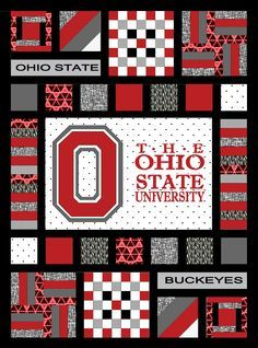 Ohio State Buckeyes Team Spirit Quilt Pattern. Includes applique pattern design tutorial to create your own applique from any logo