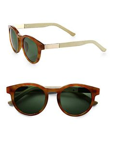 063cb3a3a5a The Row Round Leather Acetate Sunglasses - Lyst