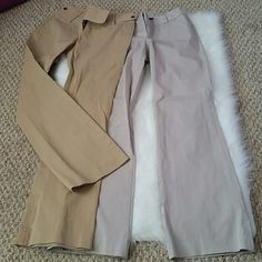 Victoria's Secret Body by Victoria Pants Gently worn, size 2 Body by Victoria  (The Christie Fit) pants in khaki and stone colors. Great for work or professional settings. Both pair of pants come together. Stone pants 38.5 in. from waist. Khaki pants 39.5 in. from waist. Victoria's Secret Pants Trousers