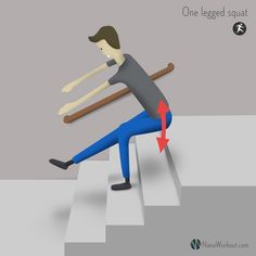 One legged squats, or pistol squats, is a great leg exercise you can do whenever you have some stairs nearby.  www.nanoworkout.com - Always the stairs