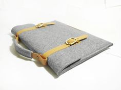 "Macbook pro 15"" Retina Macbook Sleeve Bag Wool Felt with Genuine Leather Handle and Strap Sleeve for Macbook pro 15""Retina. $49.00, via Etsy."