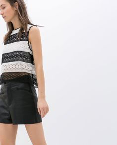 Zara Sleeveless Striped Guipure Top in White (Black / White) - Lyst