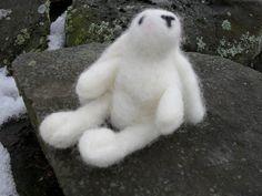 Adorable Needle Felted Soft White Bunny by KrazyFeltFrenzy on Etsy, $26.00