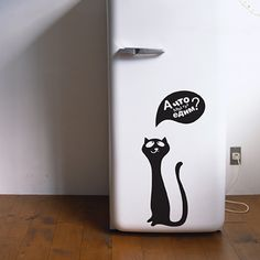 Black cat images and wall stickers are modern interior decorating ideas Small Wall Stickers, Cat Stickers, Vinyl Wall Decals, Fridge Decor, Cat Wall, Modern Wall Decor, Animal Decor, Design Crafts, Modern Interior