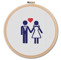 Just Married Icons   Counted Cross stitch  Pattern by WonderNeedle, $4.00