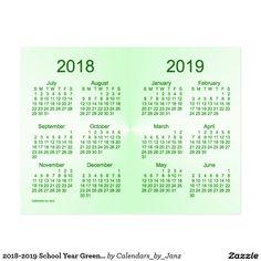 2018-2019 School Year Green Mini Calendar by Janz Postcard