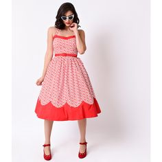 1950s Red & White Dot Marnie Halter Stretch Circle Swing Dress ($100) ❤ liked on Polyvore featuring dresses, white halter top, white a line dress, red summer dress, white swing dress and red halter dress