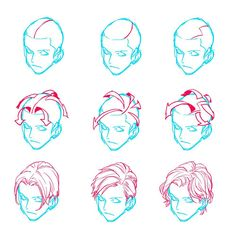 Hair (part = direction of hair flow)