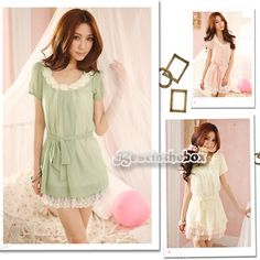 Women's Casual Chiffon Short Sleeve Lace Beaded Mini Dresses with Belt B98B 9