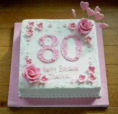 Birthday Cakes For Men, 80th Birthday Cake For Grandma, Vintage Birthday Cakes, Grandma Cake, Birthday Sheet Cakes, Elegant Birthday Cakes, Happy 80th Birthday, Mom Cake, 90th Birthday Parties