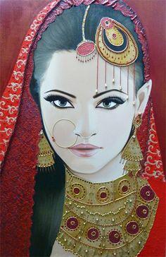 Moderne Schilderijen - Portrait Woman