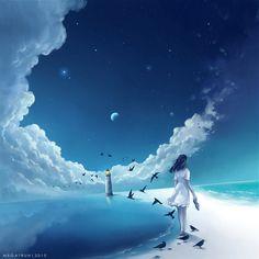 Digital Painting by Niken Anindita. Niken Anindita is a digital art artist and she is fond of digital painting. Fantasy Landscape, Fantasy Art, Main Manga, Anime Scenery, Anime Artwork, Amazing Art, Cool Art, Concept Art, Deviantart