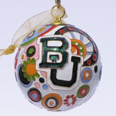 Officially licensed Baylor University, handcrafted, 24k gold plated cloisonne ornament - www.KittyKeller.com