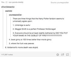 Things the Harry Potter Fandom agrees on universally