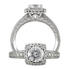 Modern diamond engagement ring featuring a prong set round cut center stone that is surrounded by a cushion micropavé halo and finished with a single row micropavé shank with milgrain and raised cushion detailing on the band profile.    <3