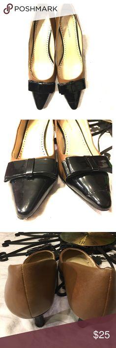 Adrienne Vittadini Heel Good used condition leather 2inch heels flat bow detail Adrienne Vittadini Shoes Heels