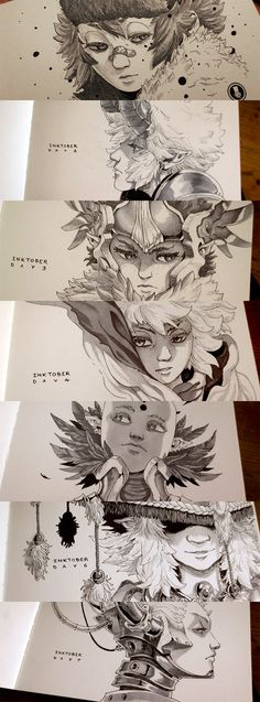 Inktober 2015 - by Xavier Collette Portrait illustration anime Character Illustration, Illustration Art, Illustrations, Kunst Inspo, Art Inspo, Cool Art Drawings, Drawing Sketches, Comic Kunst, Comic Art