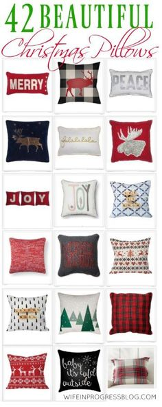 Christmas Throw Pillows: The Most Beautiful Pillows of 2016 42 Christmas throw pillows you're going to want to buy this holiday season! Christmas Sewing, Noel Christmas, Christmas Pillow, Christmas Projects, Winter Christmas, All Things Christmas, Christmas Stencils, Christmas Ideas, Xmas
