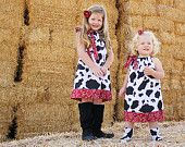 Pillowcase Dress COW and BANDANA Red Black Farm Cowgirl Western baby toddler girl by Little Sweetie Boutique