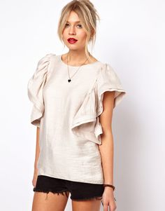 Shell Top with Dramatic Ruffle Sleeves