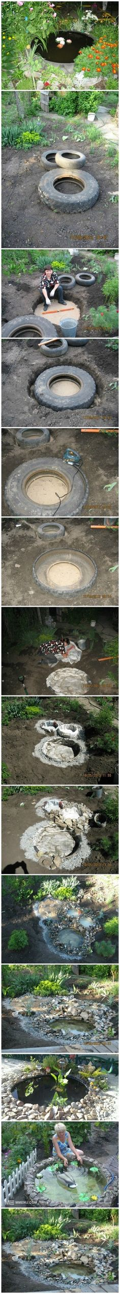 How to Use Old Tractor's Tire Make a Fountain