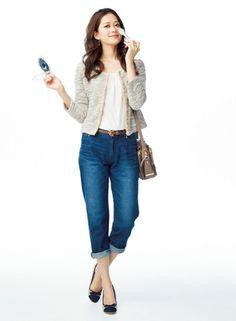 【着まわしday2】フリルブラウス×ツイード カーディガン×ボーイフレンドデニム | ファッション コーディネート | with online on ウーマンエキサイト