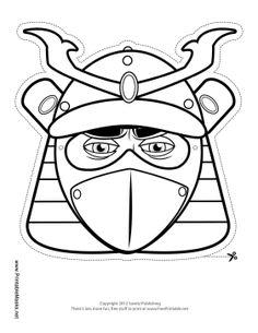 Male Samurai Mask to Color Printable Mask, free to download and print