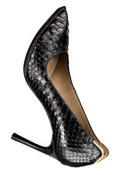 "LANVIN Black python pump with gold-tone metal ""V"" on heelcap 