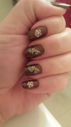 Day 13 - Flower - NK Woods with nail stickers