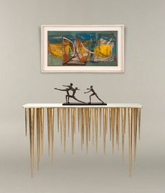 LUXURY CONSOLE TABLE  brass console table for a luxury interior   http://bocadolobo.com/ #consoletableideas #modernconsole