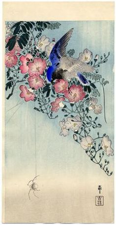 Ohara koson bird and spider between a flowering plant